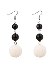 Elegant Whhite Fuzzy Ball Decorated Pom Earrings
