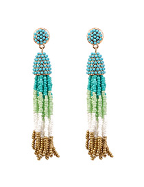 Bohemia Light Blue Color-matching Decorated Tassel Earrings
