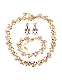 Elegant Gold Color Round Shape Decorated Jewelry Sets