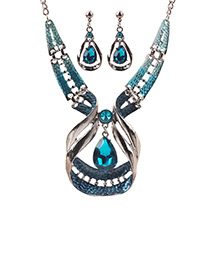 Elegant Blue Waterdrop Shape Decorated Jewelry Sets Reviews