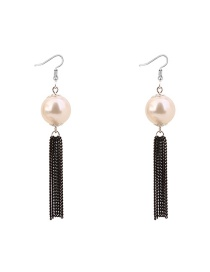 Elegant Black Pearls Ecorated Long Tassel Earrings
