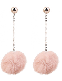Elegant Pink Fuzzy Ball Decorated Long Pom Earrings
