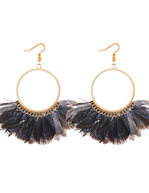 Exaggerated Sapphire Blue Feather Decorated Circular Ring Design Earrings