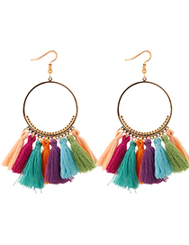 Elegant Multi-color Circualr Ring Decorated Tassel Earrings