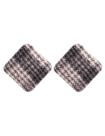 Retro Gray Square Shape Decorated Earrings