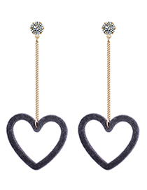 Fashion Gray Heart Shape Decorated Earrings