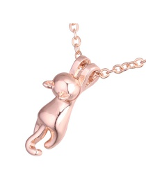 Fashion Rose Gold Cat Shape Decorated Necklace