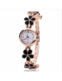 Fashion Black Flowers Decorated Simple Watch
