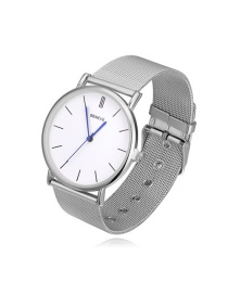 Fashion Silver Color Pure Color Decorated Round Dial Watch