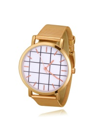 Fashion Gold Color Grid Pattern Decorated Round Dial Watch