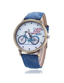 Vintage Blue Bicycle Pattern Decorated Round Dial Watch