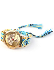 Trendy Blue Tree Pattern Decorated Hand-woven Design Watch