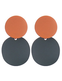 Elegant Orange+green Color Matching Decorated Round Shape Earrings