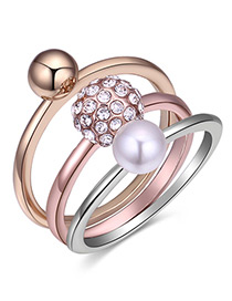 Fashion Multi-color Pearl&balls Decorated Ring Sets(3pcs)