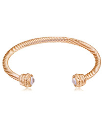 Personality Gold Color Screw Thread Design Pure Color Bracelet