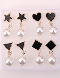 Sweet Black Geometric Shape Decorated Pearl Earrings (4pcs)