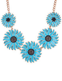 Fashion Blue Daisy Shape Decorated Pure Color Necklace