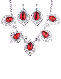 Fashion Red Diamond Decorated Hollow Out Jewelry Sets