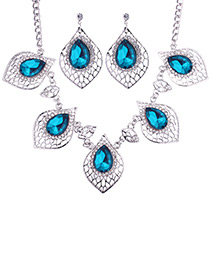 Fashion Dark Blue Diamond Decorated Hollow Out Jewelry Sets