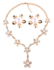 Fashion Gold Color Flower Shape Decorated Simple Jewelry Sets