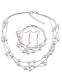 Fashion White Pearls Decorated Multi-layer Jewelry Sets