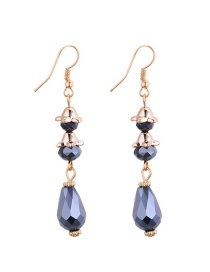 Fashion Navy Water Drop Shape Diamond Decorared Earrings