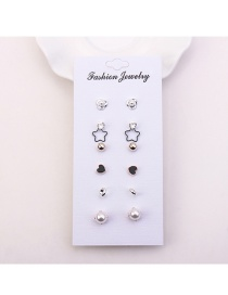 Fashion Silver Color Rose Shape Decorated Earrings (6pair)