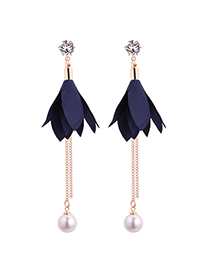Fashion Navy Leaf Shape Decorated Earrings