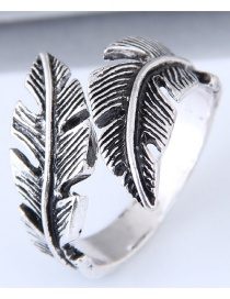 Vintage Antique Silver Feather Shape Design Opening Ring