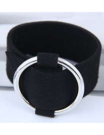 Elegant Black+silver Color Circular Ring Decorated Wide Bracelet