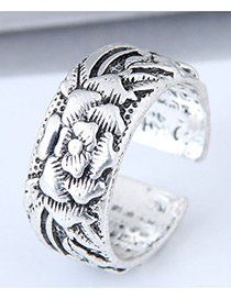 Vintage Antique Silver Flower Pattern Decorated Opening Ring