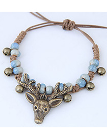 Vintage Blue Deer Head Shape Decorated Bracelet