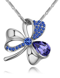 Fashion Purple Flower Shape Decorated Necklace