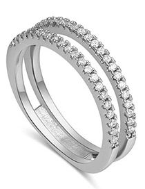 Fashion Silver Color Double Layer Design Decorated Ring
