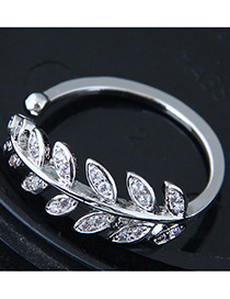 Fashion Silver Color Leaf Shape Design Opening Ring