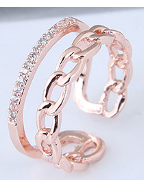 Fashion Rose Gold Chain Shape Design Opening Ring