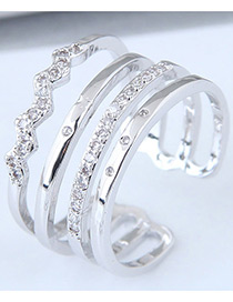 Fashion Silver Color Diamond Decorated Multi-layer Opening Ring