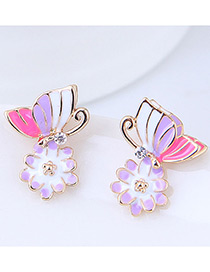 Fashion Purple+pink Flower&butterfly Shape Design Earrings