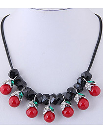 Fashion Black+red Cherry Shape Decorated Necklace