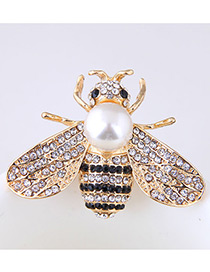 Fashion Gold Color+white Bee Shape Decorated Brooch
