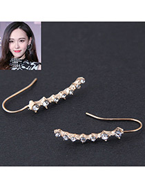 Fashion Gold Color Full Diamond Decorated Long Earrings