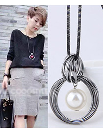Fashion White Round Shape Decorated Necklace