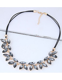 Fashion Gray Leaf Shape Decorated Necklace