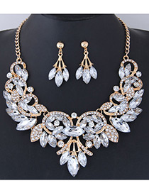 Fashion White Leaf Shape Decorated Jewelry Set