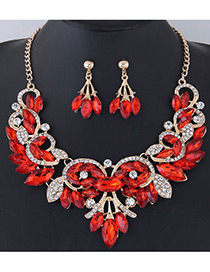 Fashion Red Leaf Shape Decorated Jewelry Set