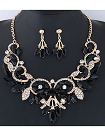 Fashion Black Leaf Shape Decorated Jewelry Set