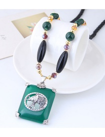 Elegant Green+purple Elephant Pendant Decorated Long Necklace