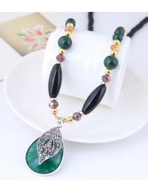 Elegant Green+black Leaf Pendant Decorated Long Necklace