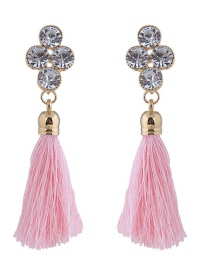 Elegant Pink Diamond Decorated Long Tassel Earrings