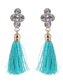 Elegant Blue Diamond Decorated Long Tassel Earrings